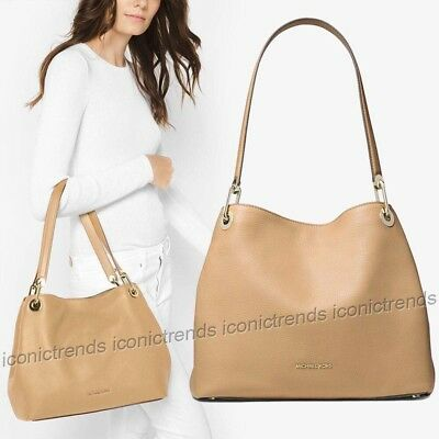 c13b6722f245 NWT 🌼 Michael Kors Raven Large Shoulder Leather Tote Butternut Beige Gold