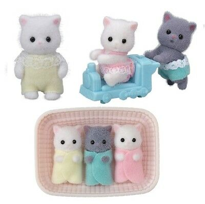 Sylvanian Families PERSIAN CAT BABIES GREY GRAY Epoch Japan Calico Critters