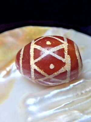 Large Ancient Etched Carnelian Diamonds Eye All Around Indus Valley Old Bead XL