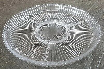 3 Sections Round Divided Glass Serving Plate Platter. Vintage Retro