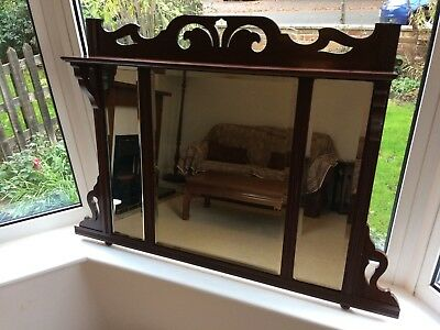 Wide Carved Wood, Antique Large, Original Over Mantle Mirror Or Wall, Bevel Edge