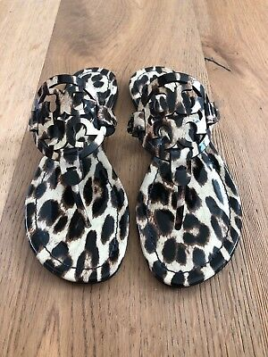 3e401fe5a NWB Tory Burch Miller Sandals Size 7.5 Natural Leopard Patent Leather