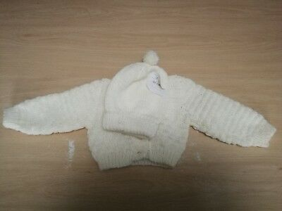 Hand knitted baby cardigans with hat 0-3 months Waist 16 inches Lemon Yellow