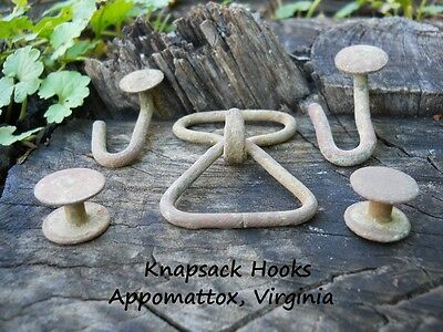 Old Rare Vintage Antique Civil War Relic Complete Set Knapsack Hooks Appomattox