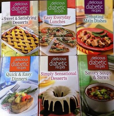 6 Delicious Diabetic Recipes Books! Hardcover New Never Used