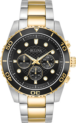 Bulova Men's 98A171 Quartz Chronograph Black Dial Two-Tone Bracelet 43mm Watch