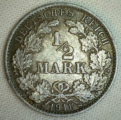 1918 A Germany-Empire 1/2 Mark KM#17 Silver World Coin #1 YG #P
