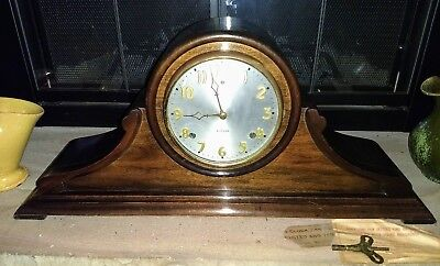 Gilbert Mantle Clock, Camel Back, 2 Bar Chime, double key, Runs & Looks Great!!