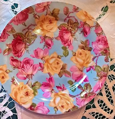 Formalities Baum Bros Rose on Blue Collection Chintz Plate Shabby Pink Roses