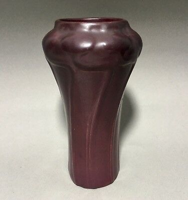 Van Briggle Pottery Vase - Shape #695 - Poppies - 1912-1919 - Mulberry Red