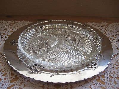 Vtg Essay, E.P. Copper, Silverplate Plate With Glass Candy Dish, Made In Canada