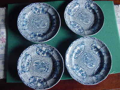 Lot of 4 William Adams Chinese Pattern Plates, Blue, England