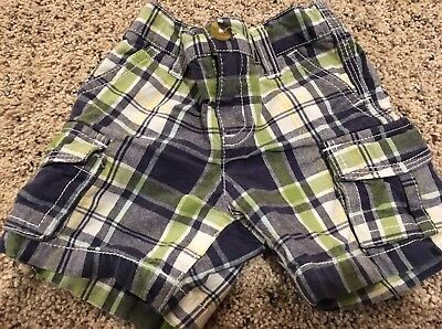 Crazy 8 Boys 3-6 Months Plaid Shorts Navy Blue White Lime Green