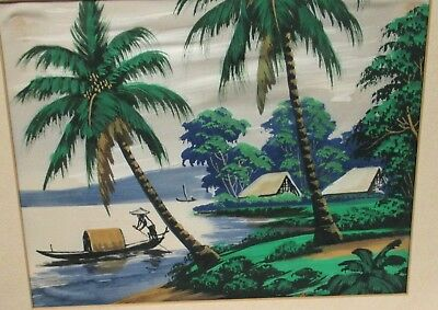 A.n. Old Vietnam Fisherman Watercolor Landscape Painting Signed #1
