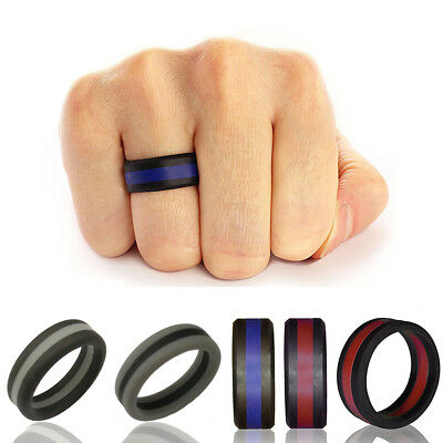 KQ_ 1 Pc 8mm Sports Silicone Wedding Ring for Men/Women Striped Rubber Band Exot