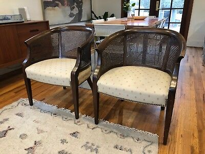 Pair Cane Back Tub Chairs By James River For Hickory Chair Furniture Co C