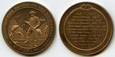 Vintage Franklin Mint Bronze Medal Commemorating the Construction of Erie Canal
