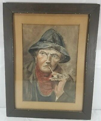 Vintage Watercolor Of Fisherman Smoking Clay Pipe, Signed 'Helen B Paine'