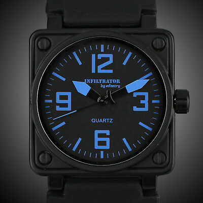 Infantry Infiltrator Mens Analog Wrist Watch Square Blue Military Sport Rubber