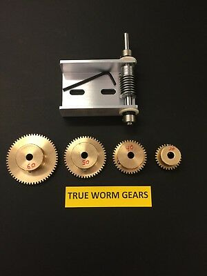"Matching Set Of Worm Gears With Ez Cinch Worm Bracket 1/4"" Bore And Set Screws !"