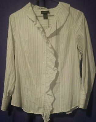 206c54e3df1 Lane Bryant Womens Dressy White Shirt With Ruffles. Long Sleeve. Size 14 16