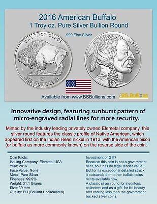 American Buffalo 2016 1-oz Elemetal Silver Round with Radial Lines BU (Lot of 4)
