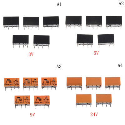 5Pcs HK19F-DC5V-SHG Mini Power Relay 8Pin 1A 125V AC/2A 30V DCS3C