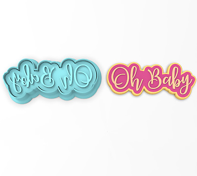 Oh Baby Cookie Cutter 2-Piece, Outline & Stamp #1 Baby Shower Gender Reveal