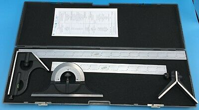 "Combination Square Protractor Center Finder iGaging Premium 5-Piece 18"" + 12"""