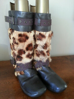 cae1caa383b7 No Name - Bottes Femme Fourrees Cuir Et Lapin - Facon Leopard - Pointure 39