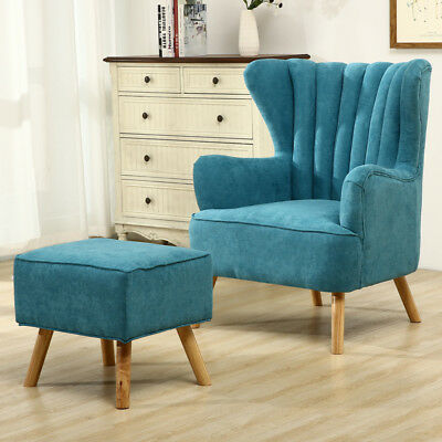 Wing High Back Queen Anne Cottage Chair Armchair Fireside Fabric with Foot Stool