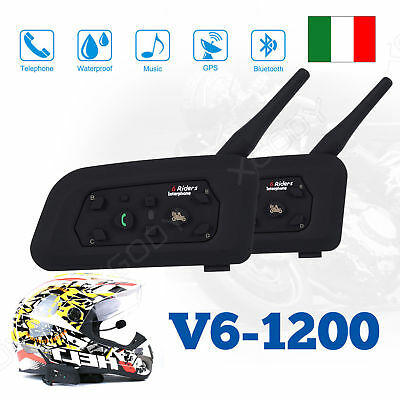 2x Moto Casco Interfono Cuffie Auricolari Bluetooth 6 Ciclista 1200M Headset