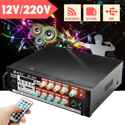 2 Channel 120 Watts Professional Power Amplifier AMP Stereo Bluetooth USB SD