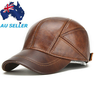 Mens Genuine Leather Baseball Cap Winter Warm Hats With Ear Flaps Adjustable