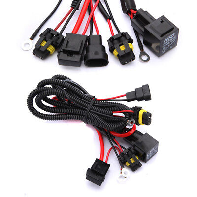 DC 12V 40A Xenon HID Light Relay Wiring Harness Kit 9005 9006 H1 H3 H7 H8 H9 H11