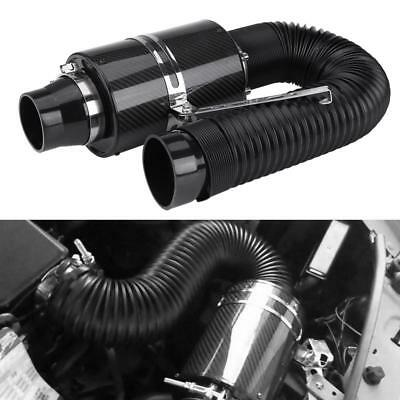"76mm 3"" Universal Carbon Fiber Induction Ram Filter Box Cold Air Intake System e"