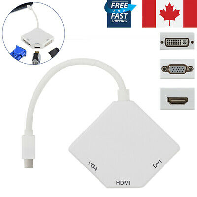 For MacBookMini DP Display Port Thunderbolt to DVI VGA HDMI 3 in 1 Adapter Cable