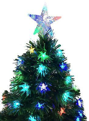 48 Inch (4ft) Black Fibre Optic Christmas Tree Decoration/Decorated with Stars
