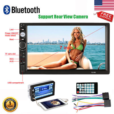 """2 DIN 7"""" Car Stereo Radio Audio Bluetooth MP5 Player Touch Screen USB AUX TF FM"""