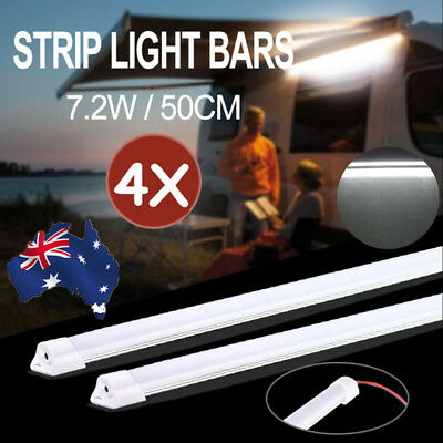 4x 50CM 12V 5630 LED Strip Light Bar Dimmable 4WD Caravan Camping Boat Fishing