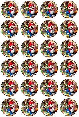 24 x SUPER MARIO BROS Cupcake Toppers EDIBLE CAKE Wafer Rice Paper gaming topper