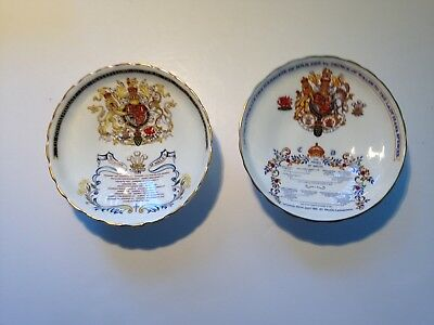 A pair of Aynsley Prince Charles Fine Bone China Bon-Bon Dishes for 1969 & 1981