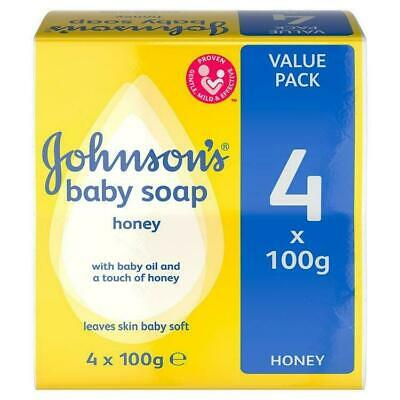 Johnson's Baby Soap with Honey, 4 x 100g Bars - UK STOCK - Free Shipping