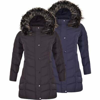 Womens Ladies Designer Long Quilted Padded Warm Winter Coat Jacket Zip Pockets