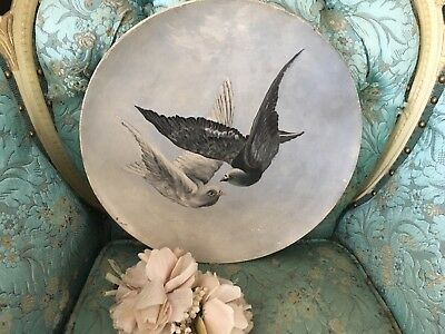 Beautiful Antique Oil Painting 1880s-1900s Papier-Mâché Pair Of Love Doves # F