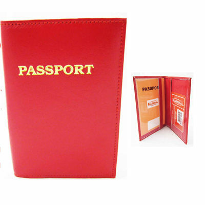 Red Leather Passport Holder RFID Blocking Case Cover Access Reader Id Travel New
