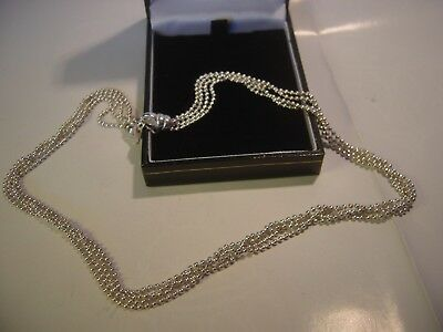 """Beautiful Solid Heavy Silver Necklace Amazing 4 Twisted Strands Of Balls ! 17.5"""""""