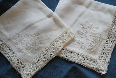 Antique Pair Of Finest Embroidered Hankies With Lace Edge
