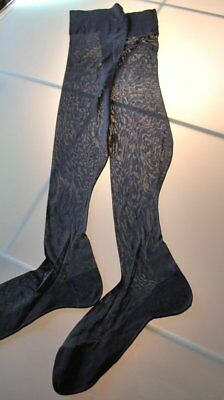 Vintage 1920 Flapper Silk Stocking In Black With Seam Dead Stock Excellent