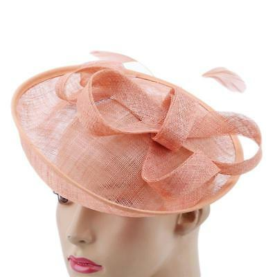 e53c0874771 Women Fascinator Hat Feather Mesh Net Veil Party Flower Clip Hairband Cap W
